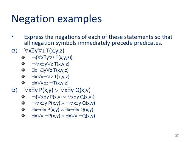 negation of a statement example