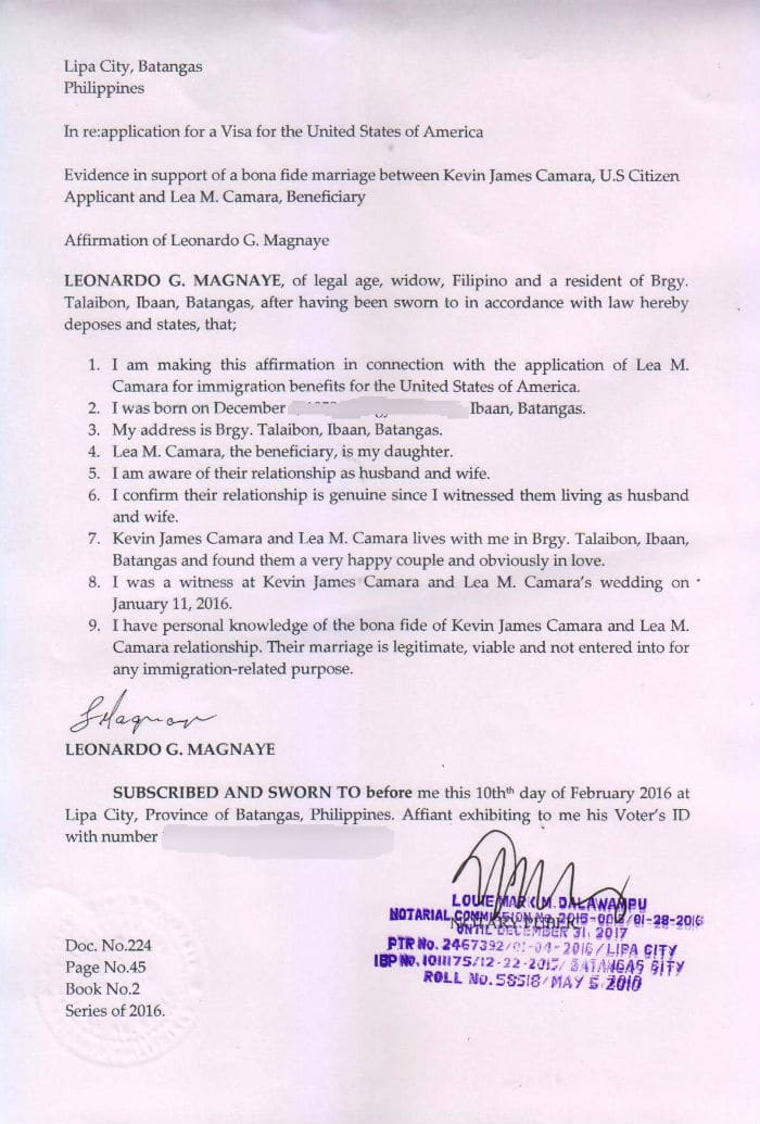affidavit letter for immigration marriage example