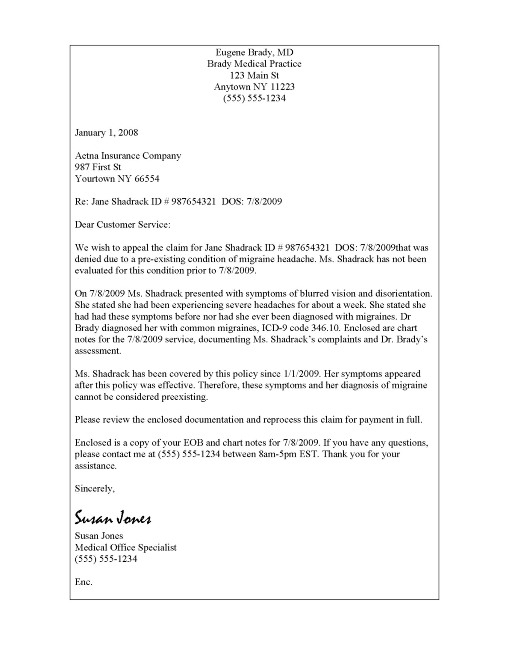 proof of health insurance letter example