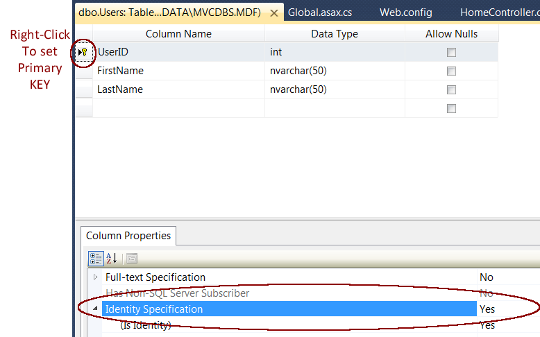 example web.config file with connection string