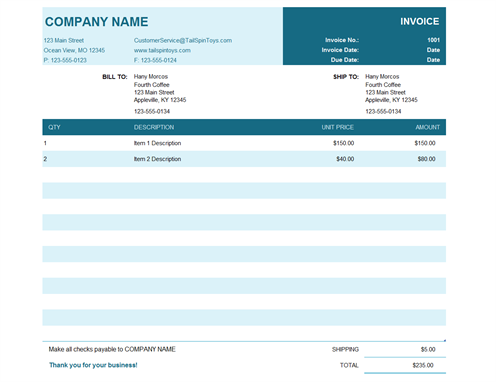 example of a recruitment firm invoice