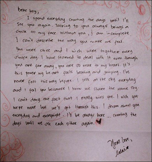 an example of a love letter for him