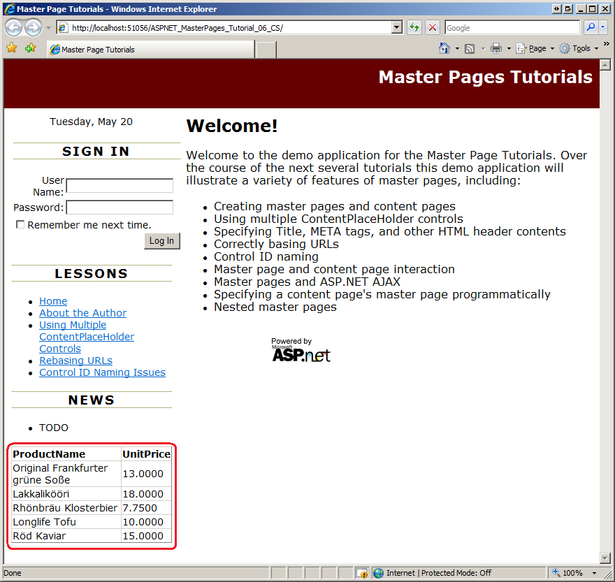 master page and content page in asp net example