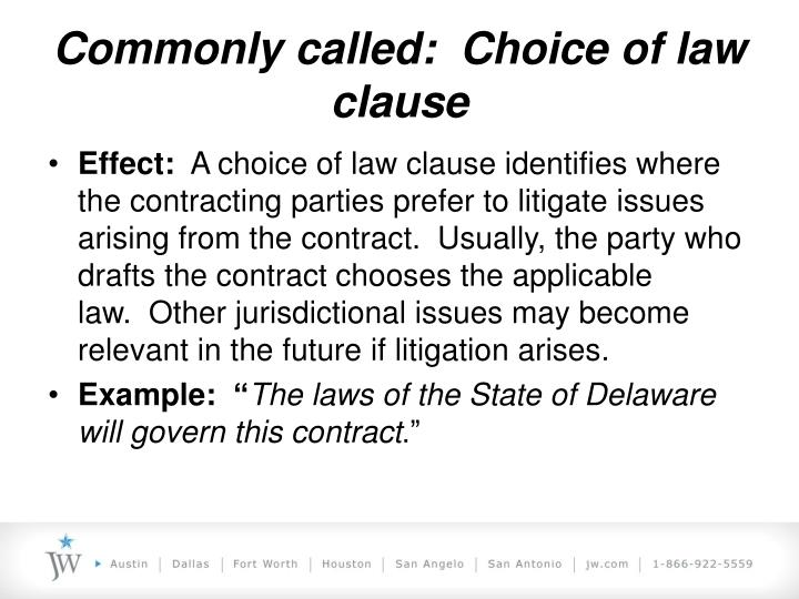 example choice of law clause