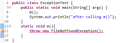 java program example on throw and throws