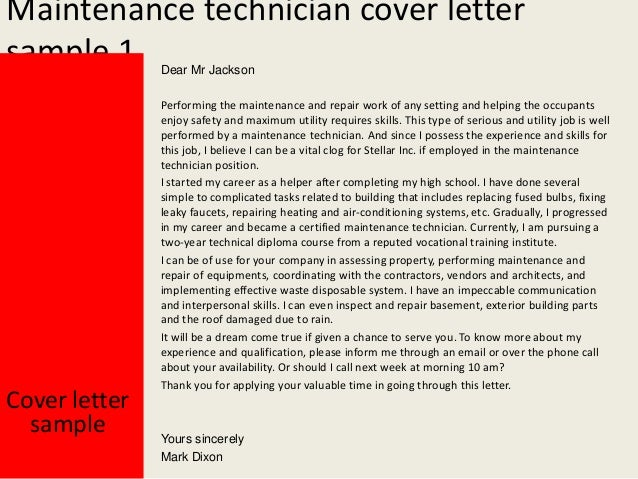 production technician cover letter example