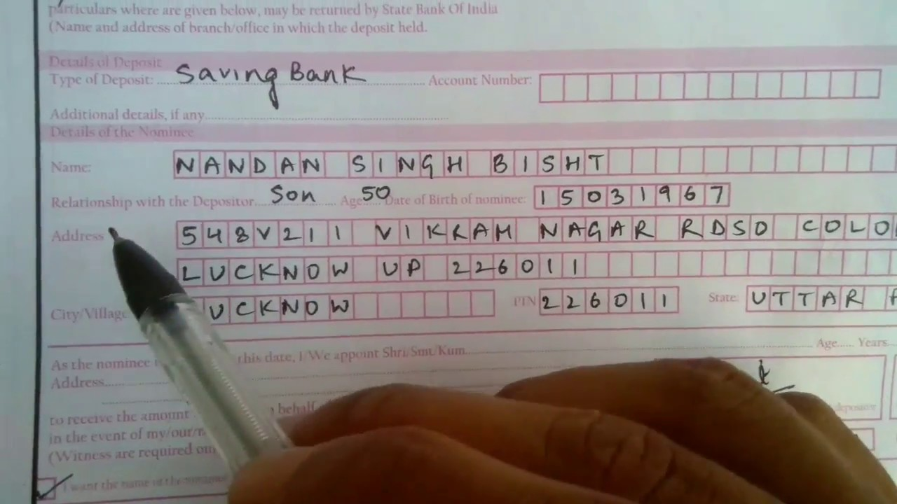 how to fill indian bank account opening form example