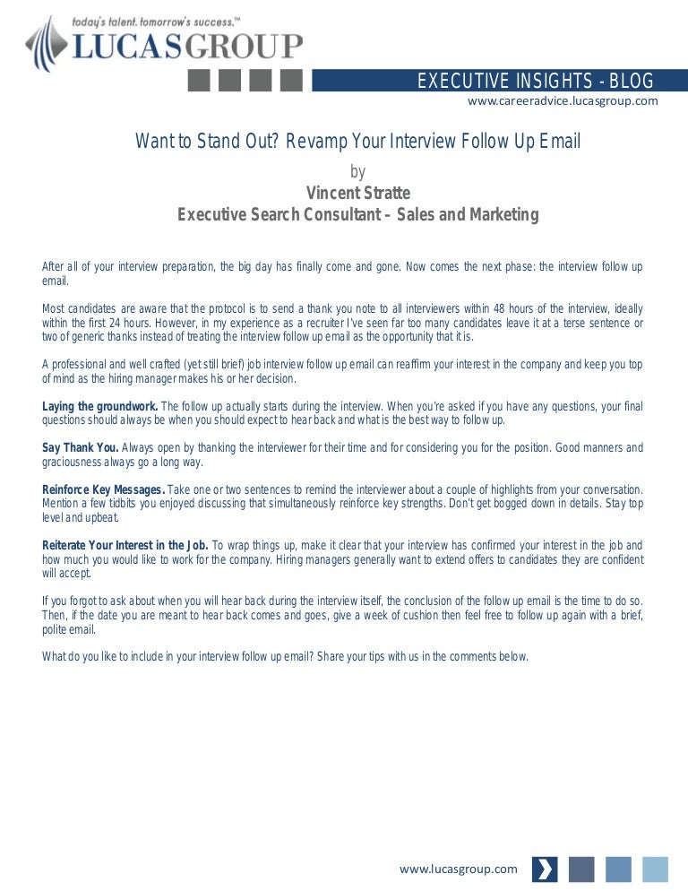 interview follow up email example