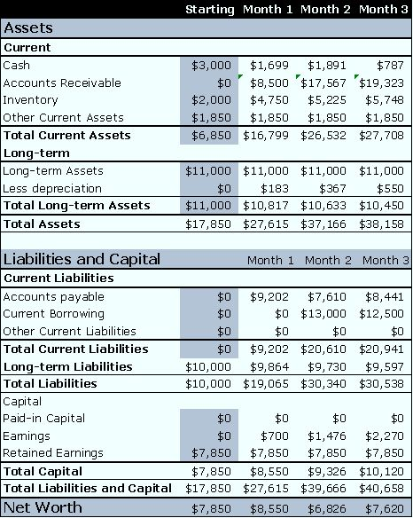 pro forma income statement and balance sheet example