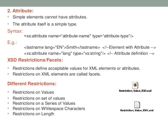 xsd example with attributes and elements