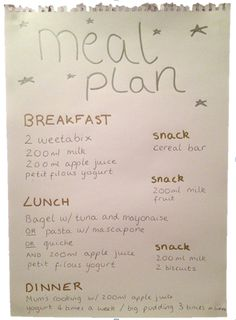 eating disorder recovery meal plan example