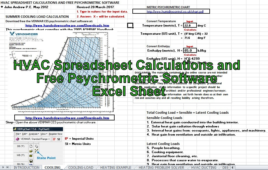 cooling load calculation toronto example excel