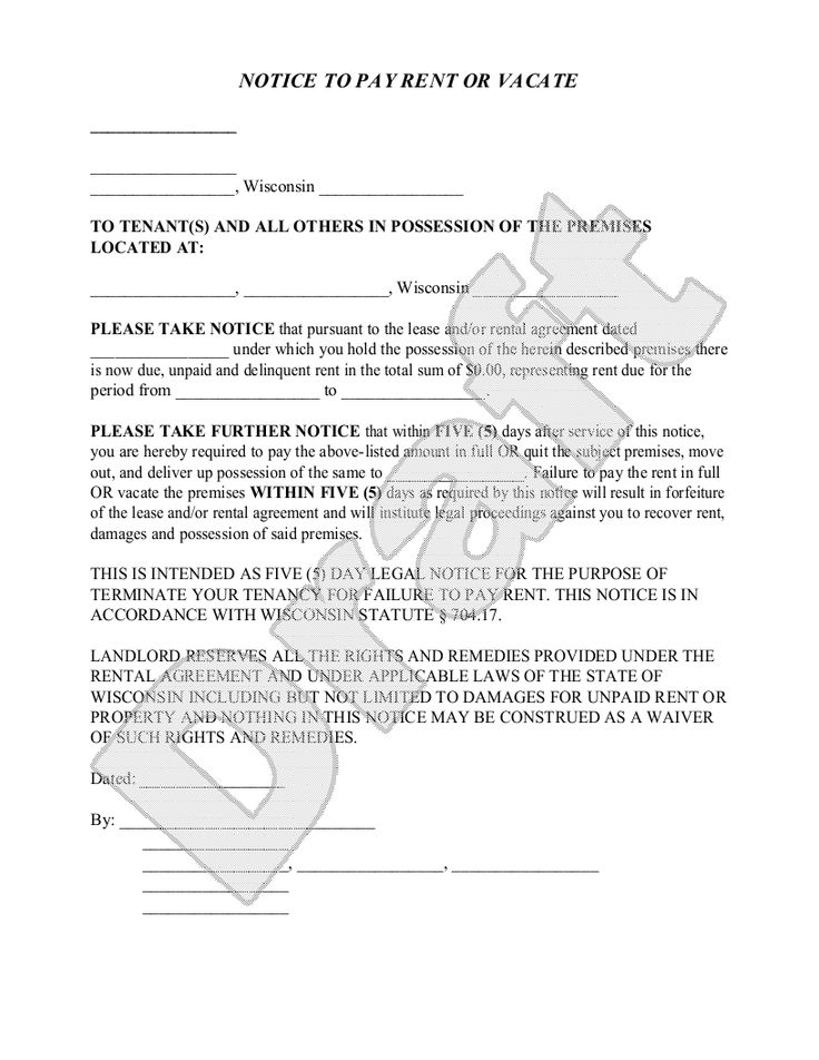example giving notice to landlord