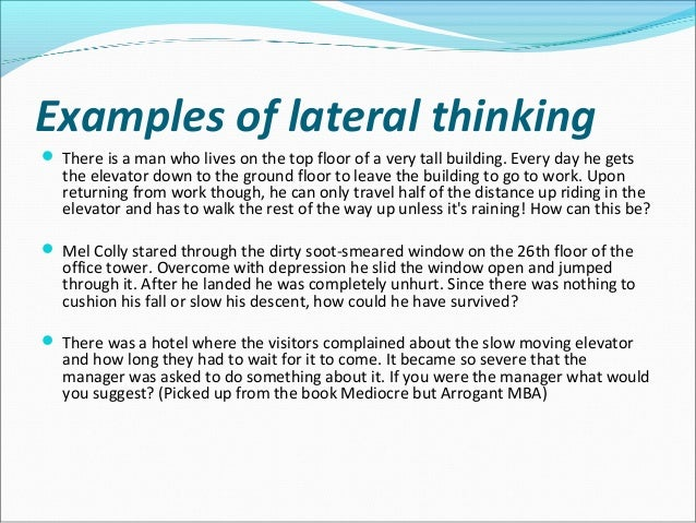 what is an example of lateral thinking