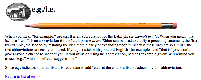 how to use e.g example