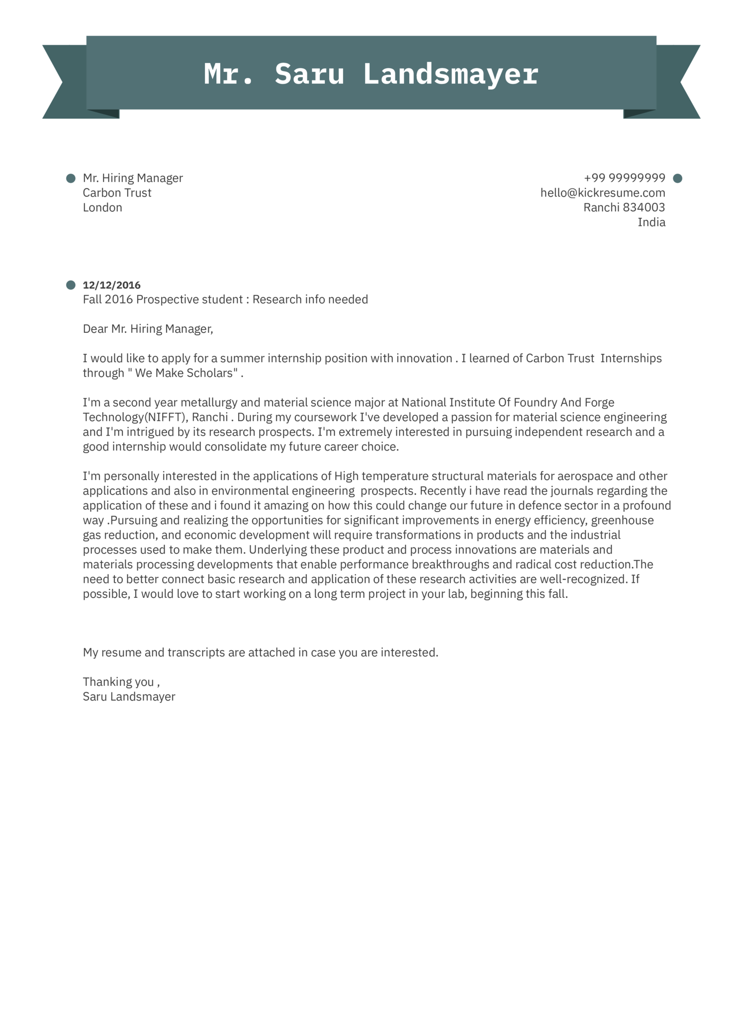 letter of support for research project example