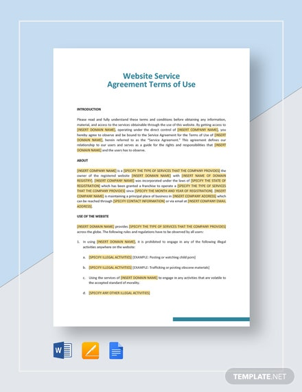 terms of use agreement example