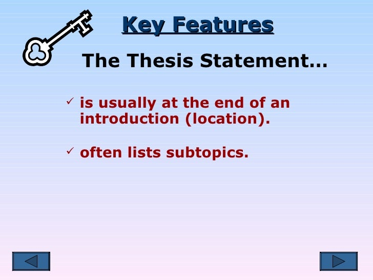 thesis statement at end of introduction example
