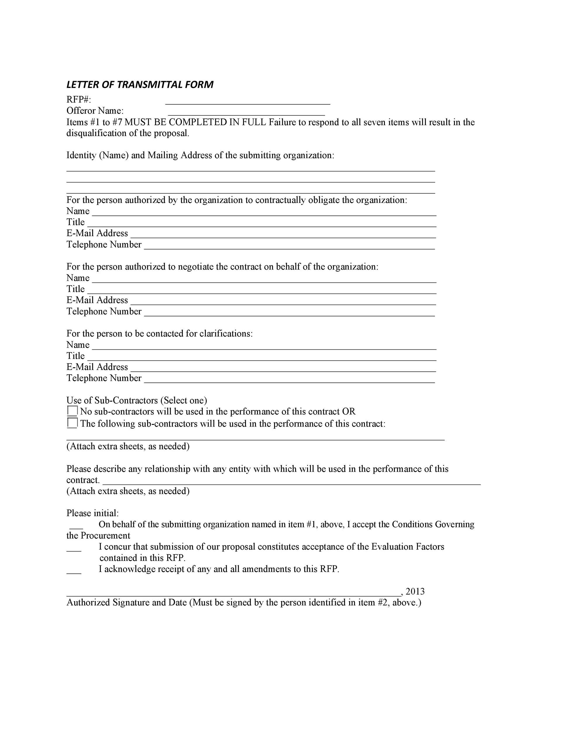 what is a letter of transmittal example