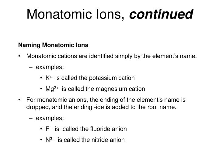 what is an example of a monatomic cation
