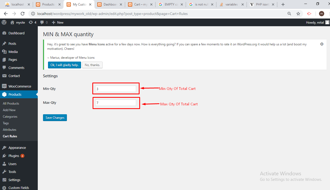 woocommerce min fee and quantity example